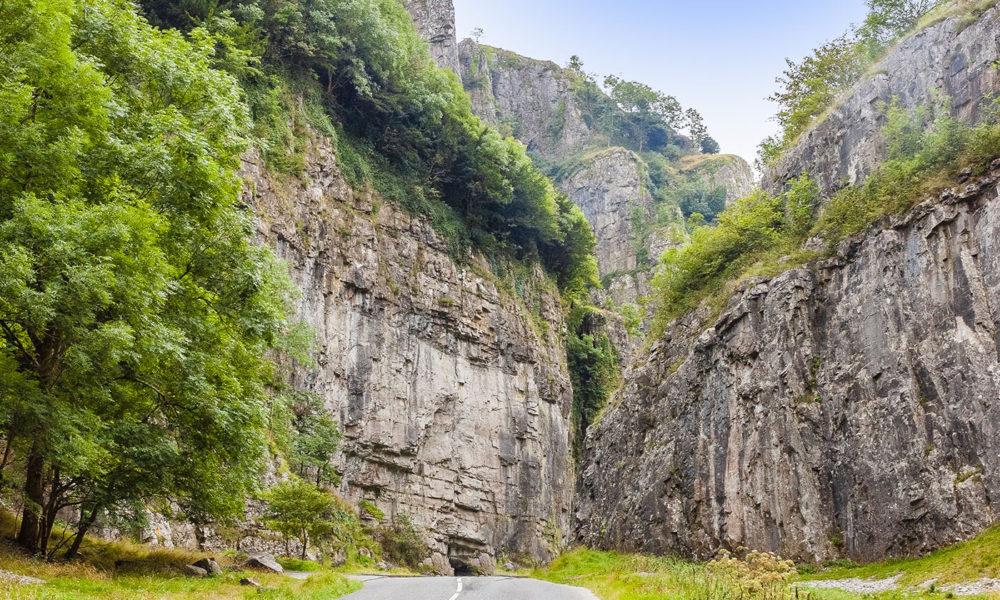 cheddar gorge limestone mendip hills somerset england uk
